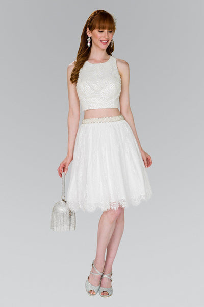 Short Two Piece Dress with Lace Skirt by Elizabeth K GS2404-Short Cocktail Dresses-ABC Fashion