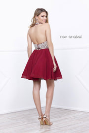 Short Two Piece Halter Dress with Beaded Top by Nox Anabel 6257-Short Cocktail Dresses-ABC Fashion
