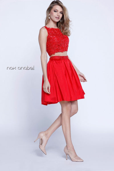 Short Two-Piece Lace-Bodice Dress by Nox Anabel 6054-Short Cocktail Dresses-ABC Fashion