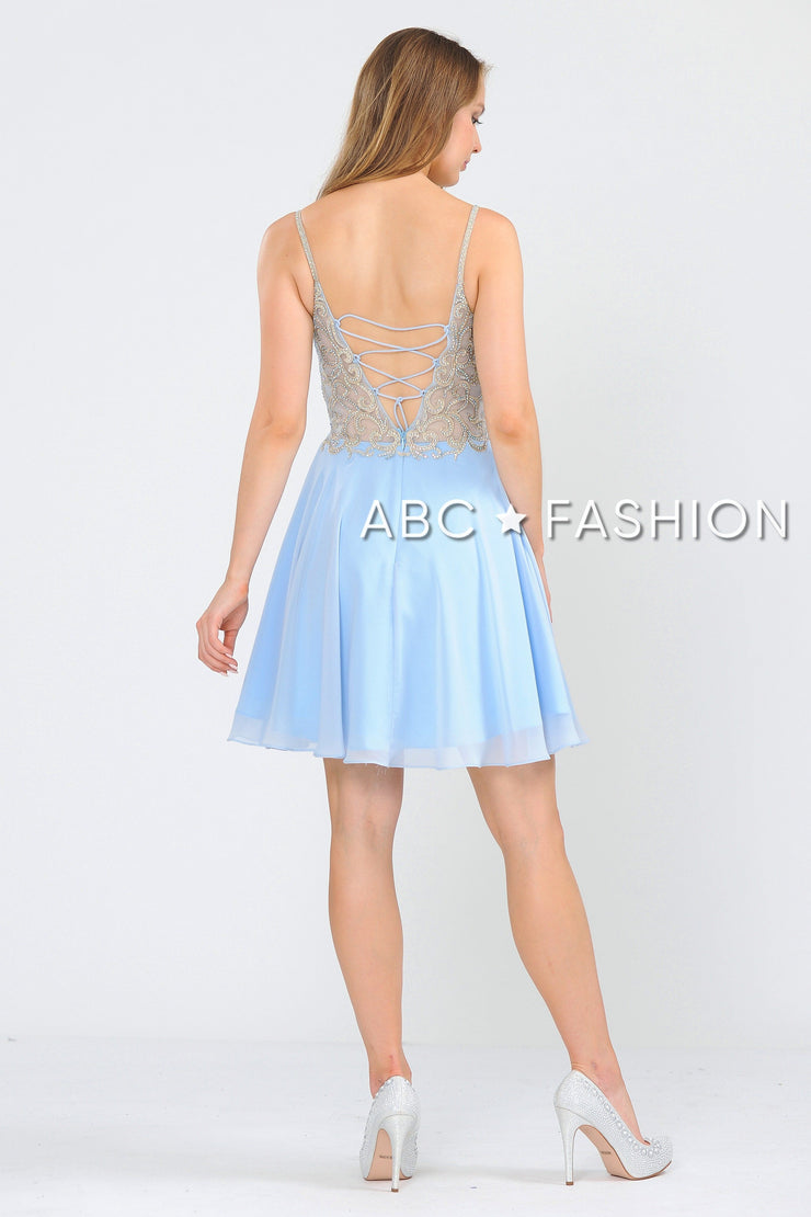 Short V-Neck Chiffon Dress with Corset Back by Poly USA 8434-Short Cocktail Dresses-ABC Fashion