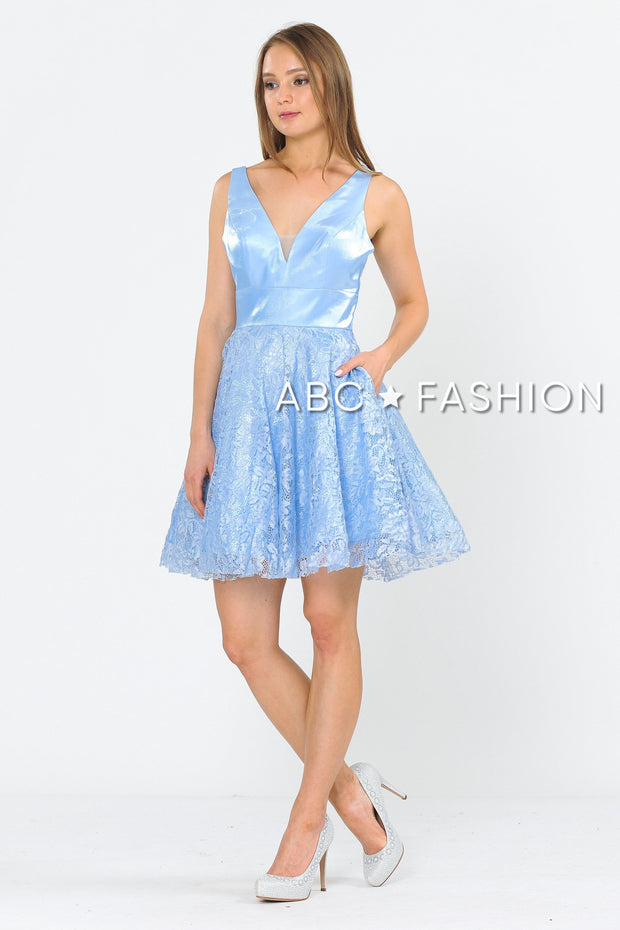 Short V-Neck Dress with A-line Lace Skirt by Poly USA 8418-Short Cocktail Dresses-ABC Fashion