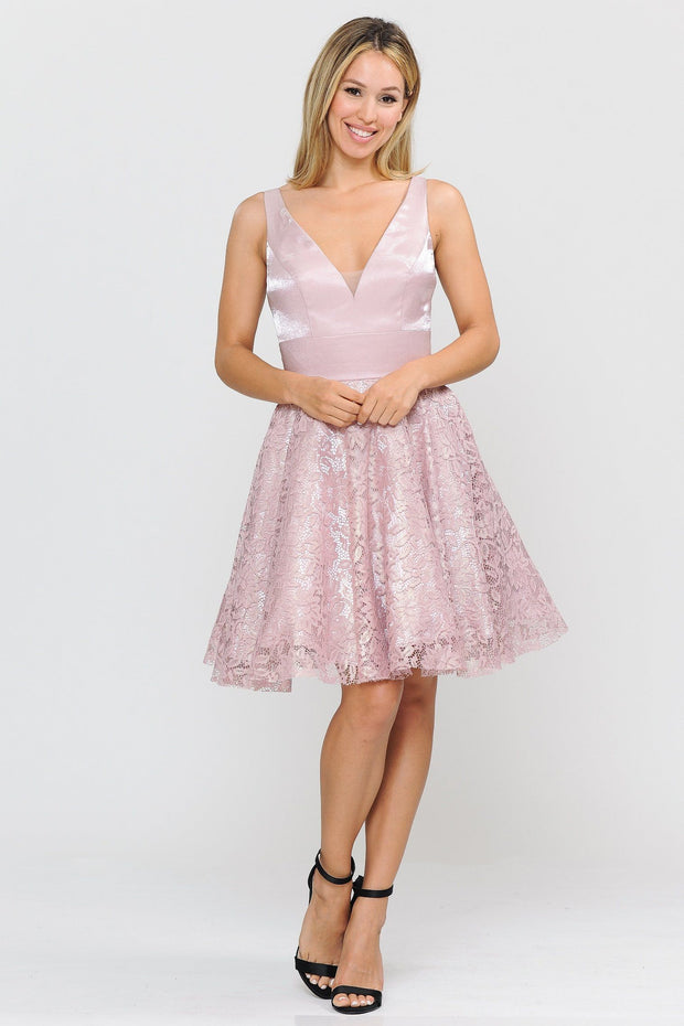 Short V-Neck Dress with A-line Lace Skirt by Poly USA 8418