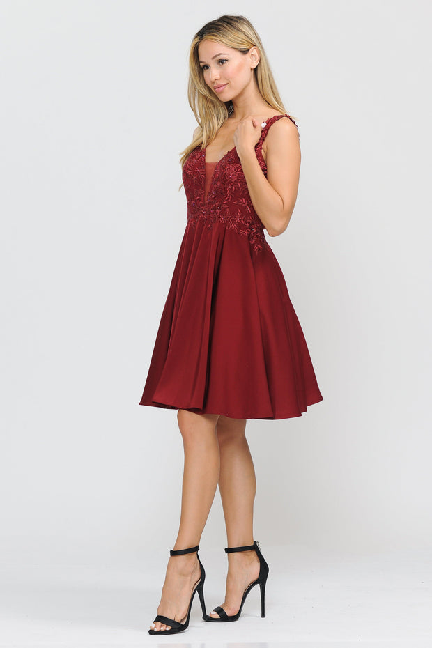 Short V-Neck Dress with Appliqued Top by Poly USA 8370-Short Cocktail Dresses-ABC Fashion