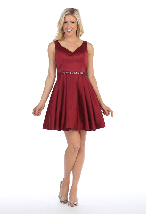 Short V-Neck Dress with Box Pleated Skirt by Celavie 5018-Short Cocktail Dresses-ABC Fashion