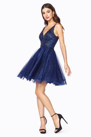 Short V-Neck Dress with Glitter Skirt by Cinderella Divine CD0149