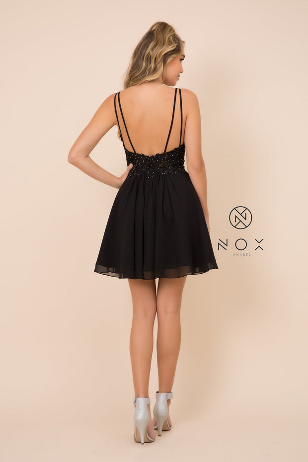 Short V-Neck Dress with Lace Bodice by Nox Anabel G679