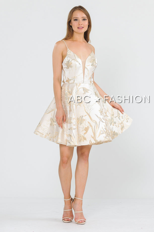 Short V-Neck Floral Print Dress with Pockets by Poly USA 8510-Short Cocktail Dresses-ABC Fashion