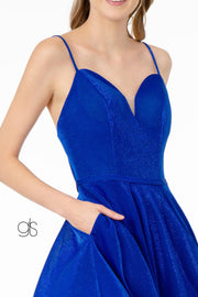 Short V-Neck Glitter Dress with Pockets by Elizabeth K GS2837