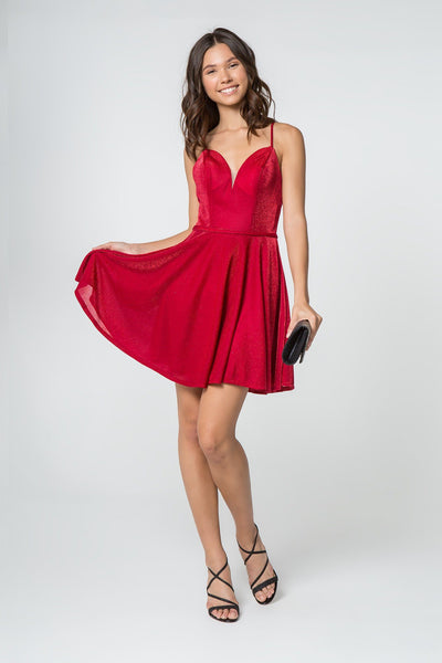 Short V-Neck Glitter Dress with Pockets by Elizabeth K GS2837-Short Cocktail Dresses-ABC Fashion