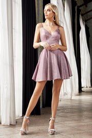 Short V-Neck Metallic Glitter Dress by Cinderella Divine CD201