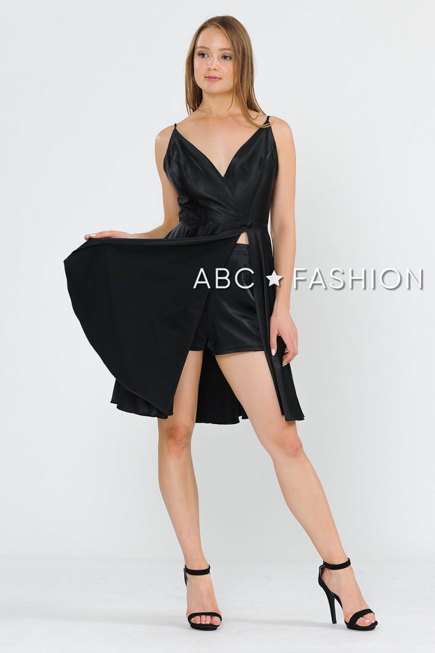 Short V-Neck Wrap Dress with Shorts by Poly USA 8544-Short Cocktail Dresses-ABC Fashion