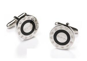 Silver and Black Cufflinks with Gentry Engraving-Men's Cufflinks-ABC Fashion