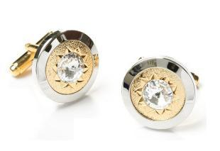 Silver and Gold Cufflinks with Clear Crystal-Men's Cufflinks-ABC Fashion