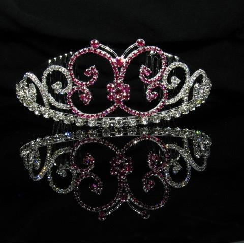Silver Butterfly Tiara with Purple Stones - T054-Quinceanera Tiaras-ABC Fashion