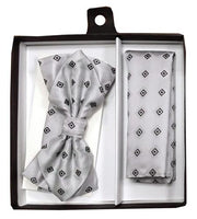 Silver Diamond Pattern Bow Tie with Pocket Square (Pointed Tip)-Men's Bow Ties-ABC Fashion