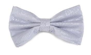 Silver Paisley Bow Ties with Matching Pocket Squares-Men's Bow Ties-ABC Fashion