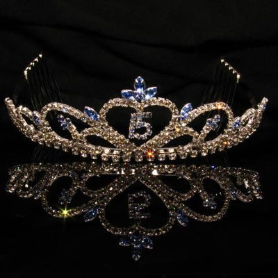 Silver Quinceanera Tiara with Blue and Clear Stones - T033-Quinceanera Tiaras-ABC Fashion