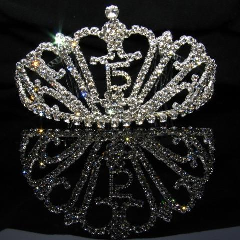 Silver Quinceanera Tiara with Clear Stones - T048-Quinceanera Tiaras-ABC Fashion