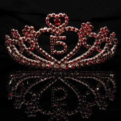 Silver Quinceanera Tiara with Dark Red Stones - T028-Quinceanera Tiaras-ABC Fashion