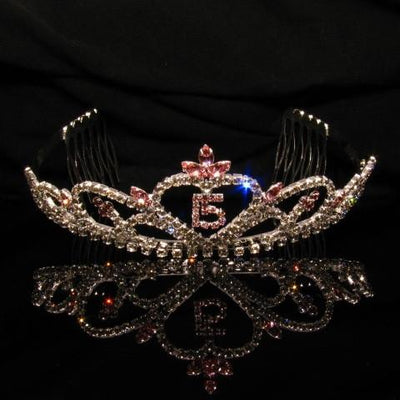 Silver Quinceanera Tiara with Pink and Clear Stones - T035-Quinceanera Tiaras-ABC Fashion
