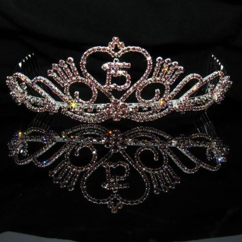 Silver Quinceanera Tiara with Pink and Clear Stones - T046-Quinceanera Tiaras-ABC Fashion