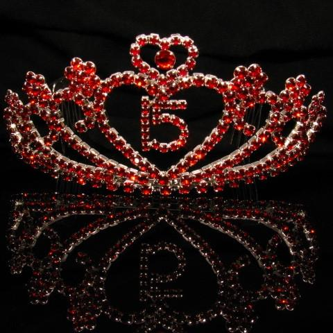 Silver Quinceanera Tiara with Red Stones - T029-Quinceanera Tiaras-ABC Fashion