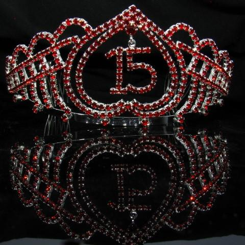 Silver Quinceanera Tiara with Red Stones - T068-Quinceanera Tiaras-ABC Fashion