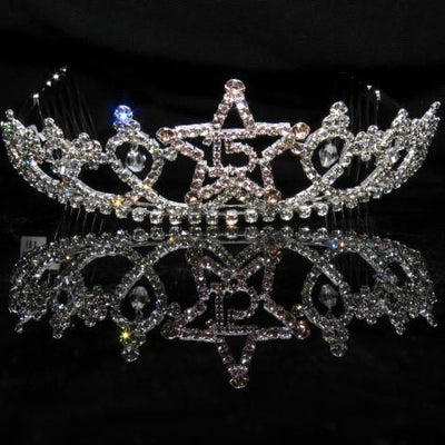 Silver Star Quinceanera Tiara with Pink Stones - T070-Quinceanera Tiaras-ABC Fashion