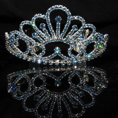 Silver Tiara with Baby Blue Stones - T059-Quinceanera Tiaras-ABC Fashion
