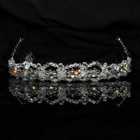 Silver Tiara with Crystals and Clear Stones - T008-Quinceanera Tiaras-ABC Fashion