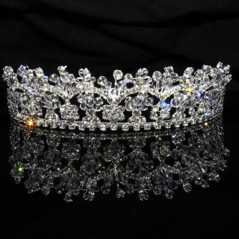 Silver Tiara with Crystals and Clear Stones - T016-Quinceanera Tiaras-ABC Fashion
