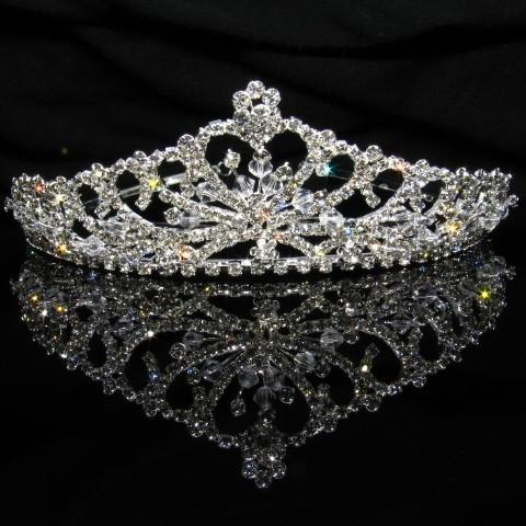 Silver Tiara with Crystals and Clear Stones - T017-Quinceanera Tiaras-ABC Fashion