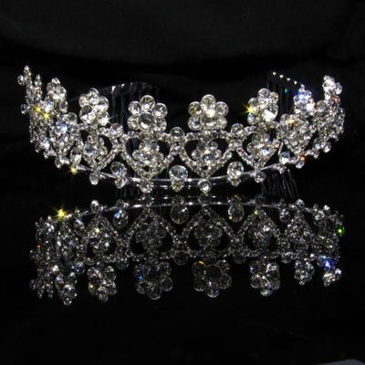 Silver Tiara with Crystals and Clear Stones - T056-Quinceanera Tiaras-ABC Fashion