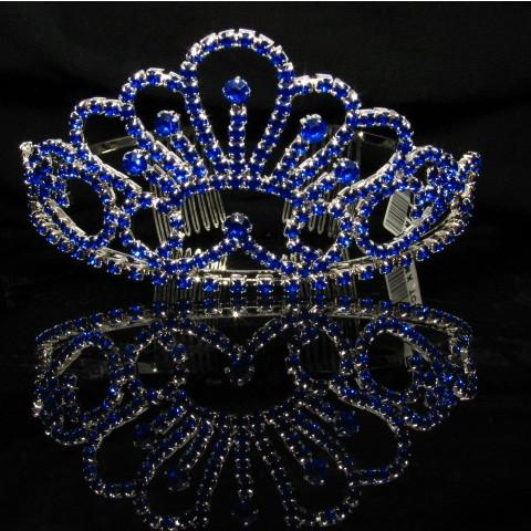 Silver Tiara with Dark Blue Stones - T058-Quinceanera Tiaras-ABC Fashion