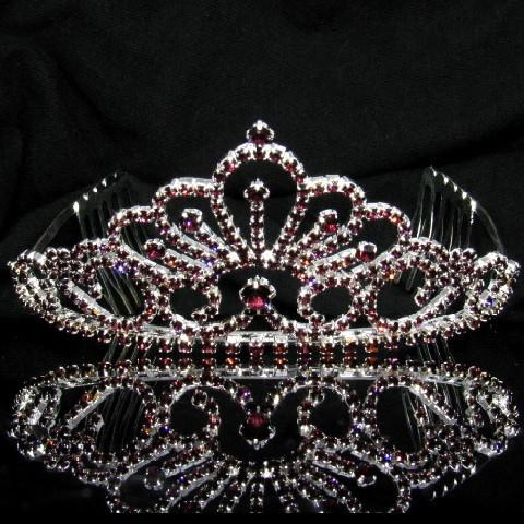 Silver Tiara with Maroon Stones - T063-Quinceanera Tiaras-ABC Fashion