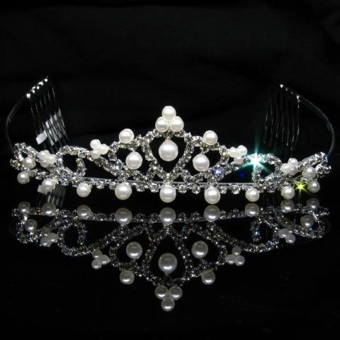 Silver Tiara with Pearls and Clear Stones - T001-Quinceanera Tiaras-ABC Fashion