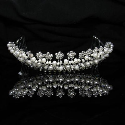 Silver Tiara with Pearls and Clear Stones - T003-Quinceanera Tiaras-ABC Fashion
