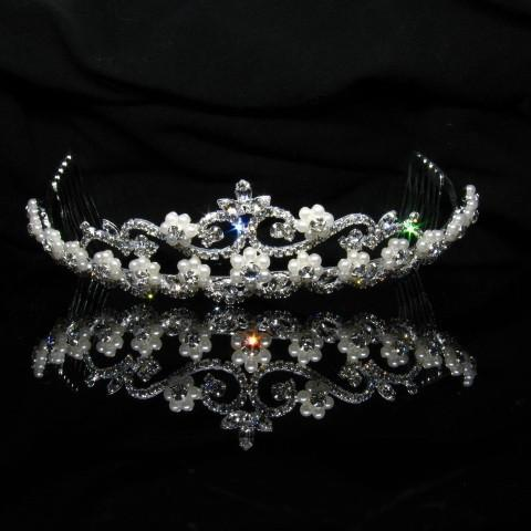 Silver Tiara with Pearls and Clear Stones - T004-Quinceanera Tiaras-ABC Fashion