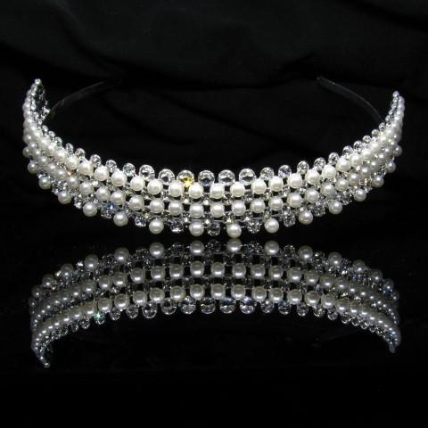 Silver Tiara with Pearls and Clear Stones - T005-Quinceanera Tiaras-ABC Fashion