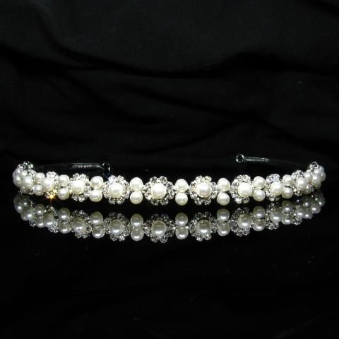 Silver Tiara with Pearls and Clear Stones - T006-Quinceanera Tiaras-ABC Fashion