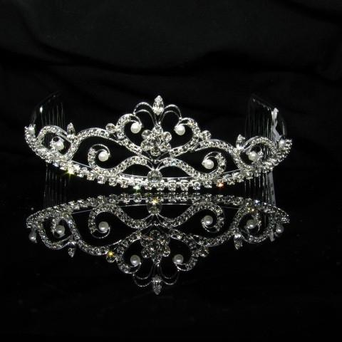 Silver Tiara with Pearls and Clear Stones - T007-Quinceanera Tiaras-ABC Fashion