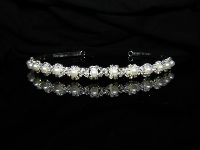 Silver Tiara with Pearls and Clear Stones - T021-Quinceanera Tiaras-ABC Fashion