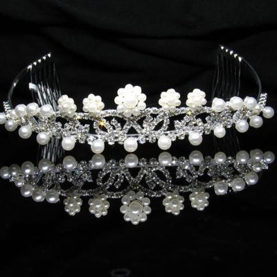 Silver Tiara with Pearls and Crystals - T012-Quinceanera Tiaras-ABC Fashion