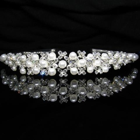 Silver Tiara with Pearls and Crystals - T020-Quinceanera Tiaras-ABC Fashion