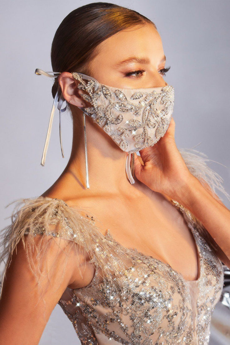 Silver/Nude Beaded Face Masks (3-Pack)