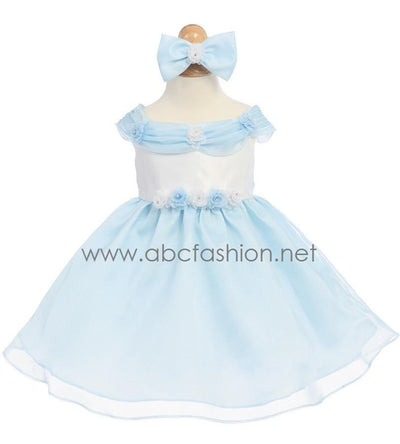 Sky Blue Baby Girl Dress with Rose Details - 7 Colors-Girls Formal Dresses-ABC Fashion