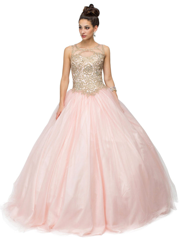 Sleeveless A-line Ball Gown with Gold Appliques by Dancing Queen 1101-Quinceanera Dresses-ABC Fashion