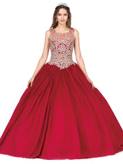 Sleeveless A-line Ball Gown with Gold Appliques by Dancing Queen 1101