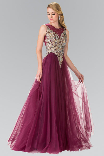 Sleeveless Bead Embroidered Illusion Dress by Elizabeth K GL2317-Long Formal Dresses-ABC Fashion
