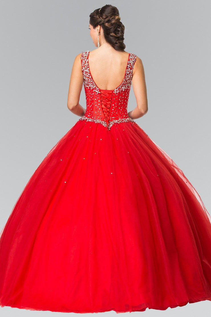 Sleeveless Beaded A-Line Ballgown by Elizabeth K GL2349-Quinceanera Dresses-ABC Fashion